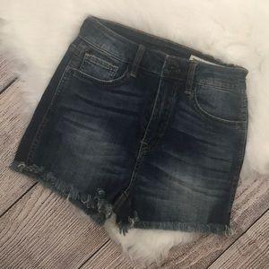 Pants - High waisted dark wash frayed hem Jean short
